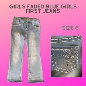 Girls bell bottom Girls First blue jeans size 6
